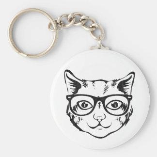 Porte-clés Chat blanc noir de hippie