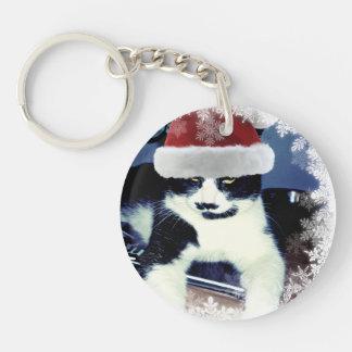 Porte-clés Chat de Père Noël avec le porte - clé de Noël de