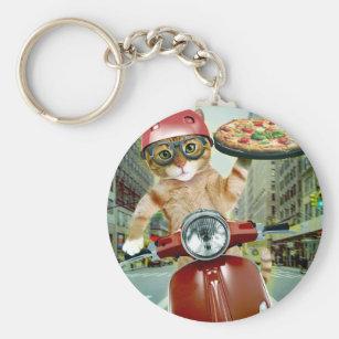 Porte-clés chat de pizza - chat - la livraison de pizza