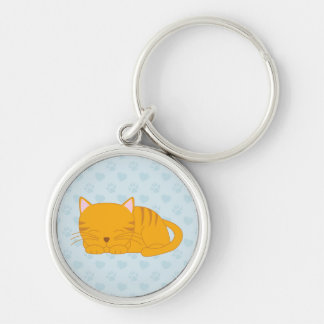 Porte-clés Chat tigré orange de sommeil