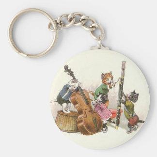 Porte-clés Chats anthropomorphes vintages mignons jouant la