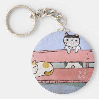 Porte-clés Chats sur le banc
