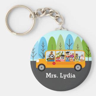 Porte-clés Chauffeur d'autobus scolaire mignon de hibou