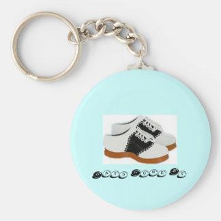 Porte-clés Chaussure-Jours de selle de bleu et de blanc allés