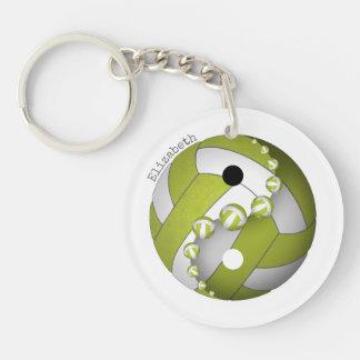 Porte-clés chaux de volleyball de yin et de yang ou TOUT nom