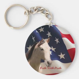 Porte-clés Cheval avec le porte - clé de drapeau américain