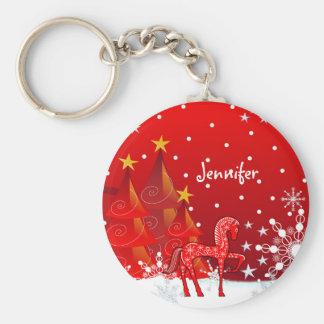 Porte-clés Cheval, flocons de neige et nom mignons de coutume