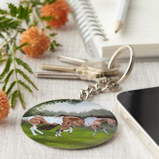 Porte-clés Chevaux de peinture de Tobiano de peau de daim