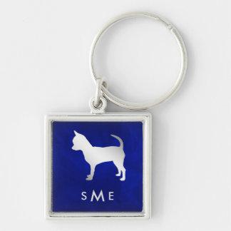 Porte-clés Chien argenté bleu de chiwawa de monogramme
