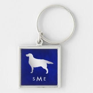 Porte-clés Chien argenté bleu de poseur de monogramme