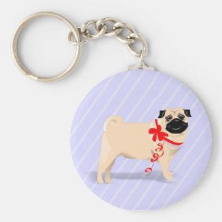 Porte-clés Chien de carlin avec le porte - clé rouge de ruban