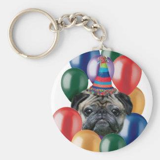Porte-clés Chien de carlin de joyeux anniversaire