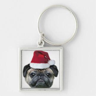 Porte-clés Chien de carlin de Noël