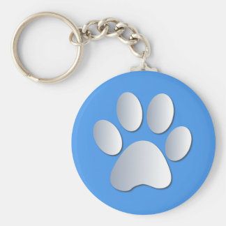 Porte-clés Chien d'empreinte de patte, argent d'animal