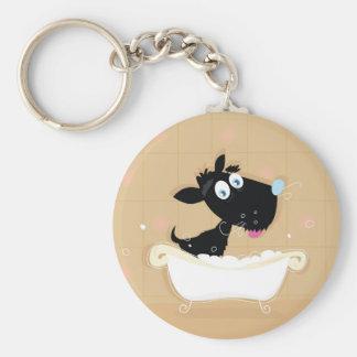 Porte-clés Chien noir mignon tiré par la main dans le bain