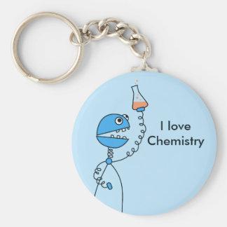 Porte-clés Chimie drôle bleue d'amour de robot personnalisée