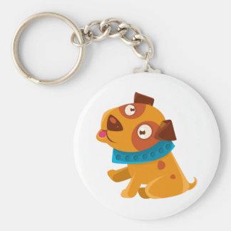 Porte-clés Chiot idiot avec le collier bleu prêt à aller pour