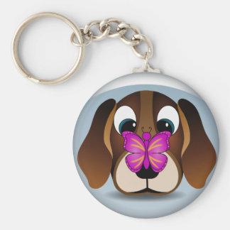 Porte-clés Chiot mignon de beagle et porte - clé rond de