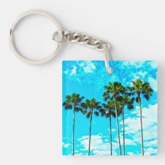 Porte-clés Ciel bleu de palmiers tropicaux frais