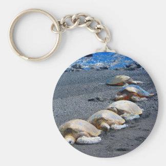 Porte-clés Cinq tortues paresseuses se situant dans le sable