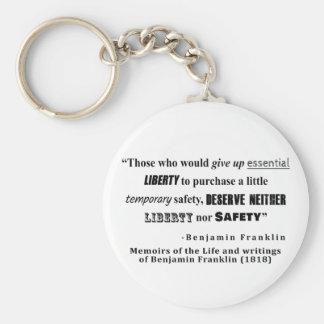 Porte-clés Citation de Benjamin Franklin de liberté et de