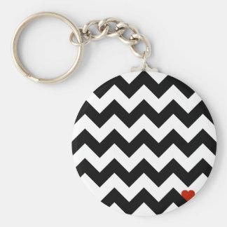 Porte-clés Coeur & Chevron - Noir/Rouge Classique