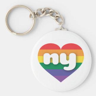 Porte-clés Coeur d'arc-en-ciel de gay pride de New York -
