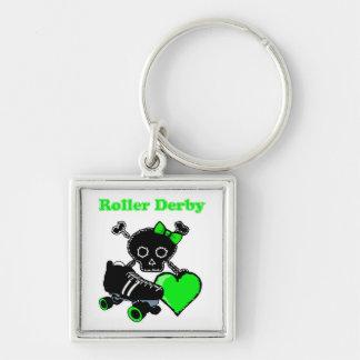 Porte-clés Coeur de Derby de rouleau (vert)