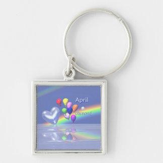 Porte-clés Coeur de diamant d'anniversaire d'avril