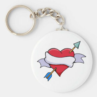 Porte-clés Coeur de Valentine d'arc et de flèche avec la