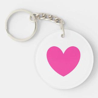 Porte-clés Coeur rose fuchsia sur le blanc