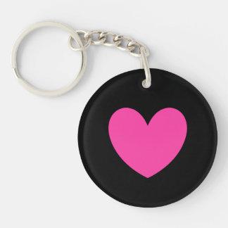 Porte-clés Coeur rose fuchsia sur le noir