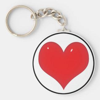 Porte-clés Coeur rouge brillant (ajoutez votre texte)