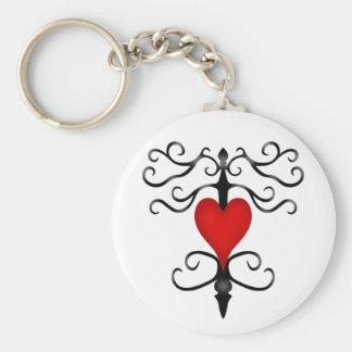 Porte-clés Coeur rouge gothique romantique