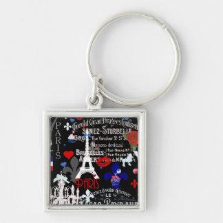 Porte-clés Collage noir français moderne de Paris