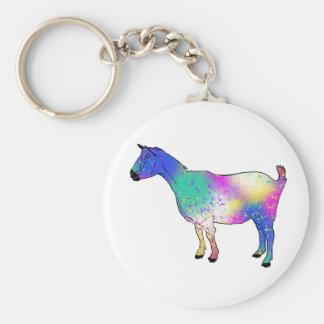 Porte-clés Conception animale colorée de chèvre bleue d'art
