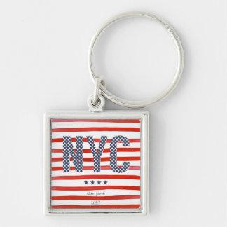 Porte-clés Conception de rouge de NYC |, blanche et bleue