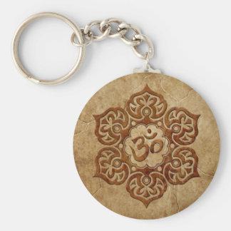 Porte-clés Conception florale en pierre d'Aum