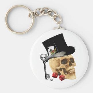 Porte-clés Conception gothique de tatouage de crâne de joueur