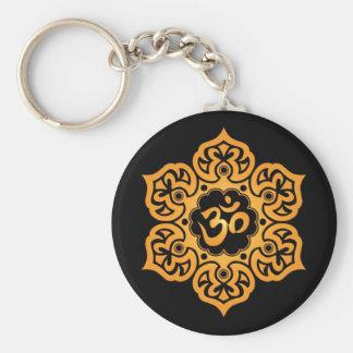Porte-clés Conception jaune et noire florale d'Aum