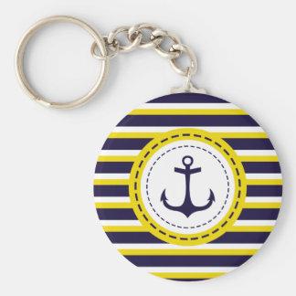 Porte-clés Conception nautique d'ancre de rayures de jaune de
