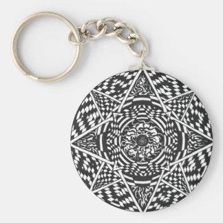 Porte-clés Conception noire et blanche de mandala