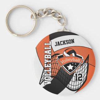 Porte-clés Conception orange, noire et blanche de volleyball