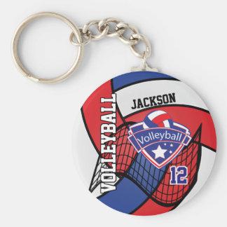 Porte-clés Conception rouge, bleue et blanche de volleyball