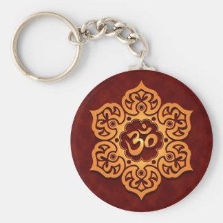 Porte-clés Conception rouge d'or florale d'Aum