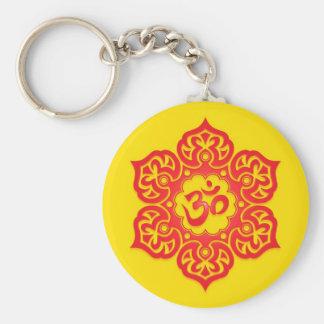 Porte-clés Conception rouge et jaune florale d'Aum