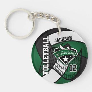 Porte-clés Conception vert-foncé, noire et blanche de