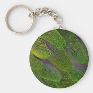 Porte-clés Conception verte de plume de perroquet de caïque