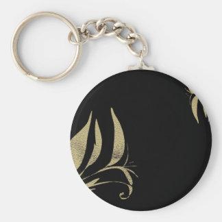 Porte-clés Conceptions de motif de Flourish de noir et d'or