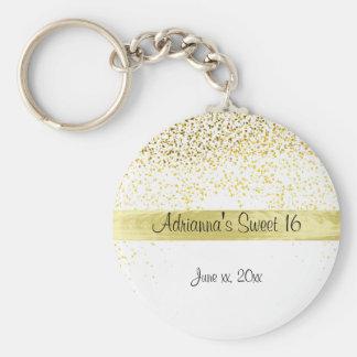 Porte-clés Confettis d'or et satin, sweet sixteen, coutume
